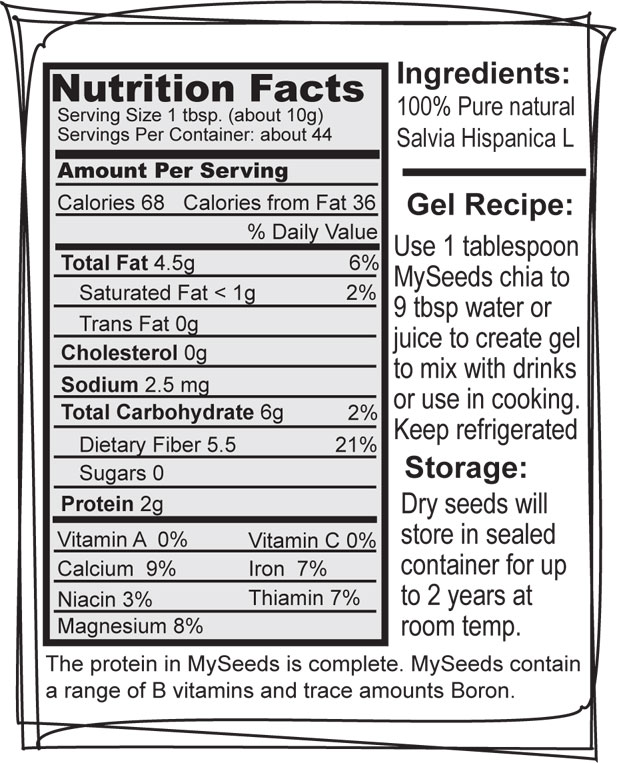 Chia Seed Nutrition Facts Label